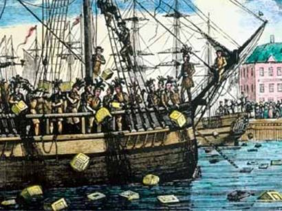 Boston Tea Party was political protest by Sons of Liberty in Boston, Dec 16, 1773. Demonstrators, some disguised as Native Americans, in defiance of  Tea Act of May 10, 1773, destroyed entire shipment of tea sent by East India Company. They boarded 3 British tea ships & threw 342 chests of tea into Boston Harbor. British government responded harshly & episode escalated into American Revolution. The Tea Party became an iconic event of American history.