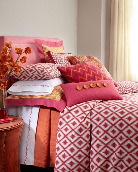 Bedroom color scheme: orange, pink, gold