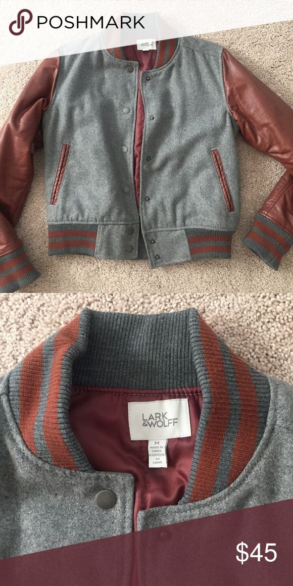 Grey/Brown Leather Varsity Jacket - Size M Great condition. Letterman style jacket originally from Urban Outfitters. True to size. Jackets & Coats