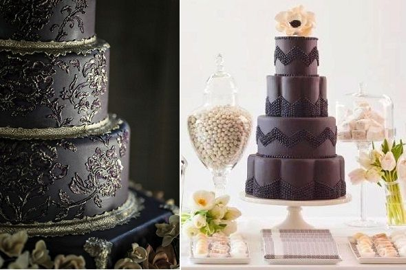black-wedding-cakes-left-by-Ana-Parsych-and-right-via-Juxtapost