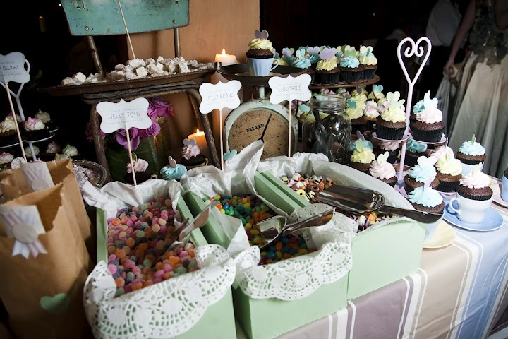 Sweets Central-old vintage kitchen chair in background as part of table decor