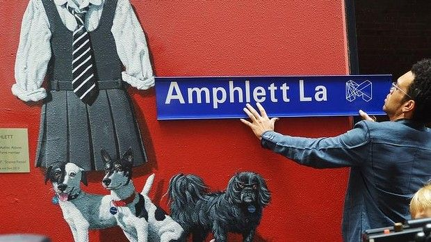 Charley Drayton at the opening of Amphlett Lane, named after rock singer Chrissy Amphlett. Fitting.