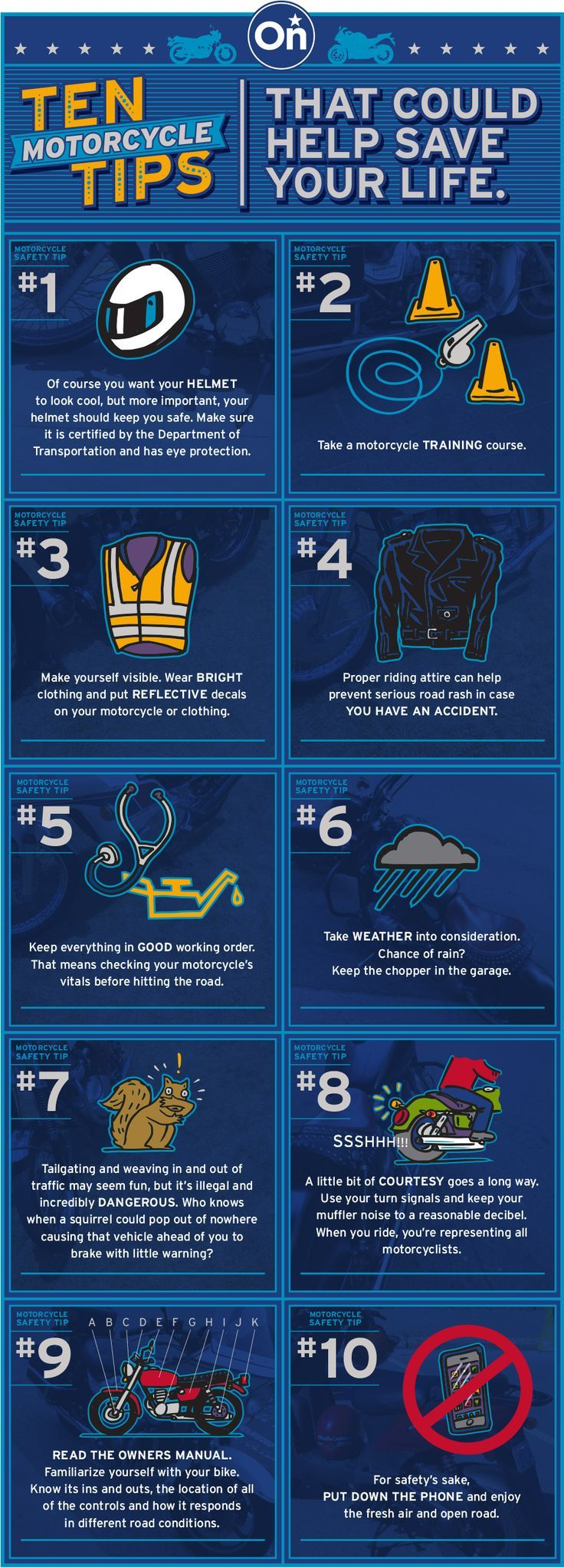 10 motorcycle safety tips that could help save your life! onstarconnections.com   #safety #tips