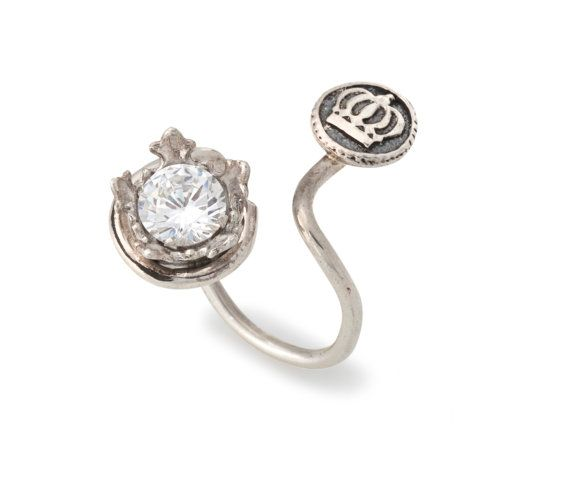 Women's Kabbalah Open Silver Ring with 1 Synthetic Stone Inside Crown and 1 Crown Button - Handmade per Order