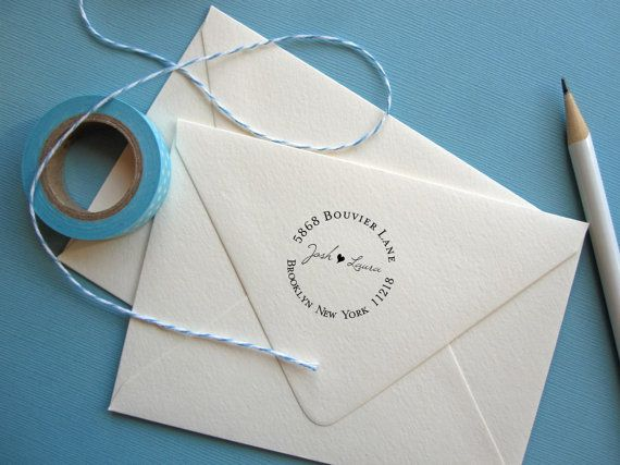 Self Inking Return Address Stamp - round stamp heart for weddings, self Inking or wood handle on Etsy, $31.50