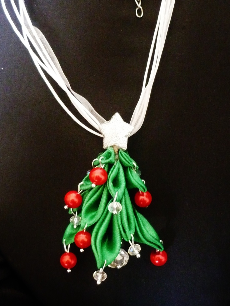 christmas necklace with red and crystal ball and silver star.