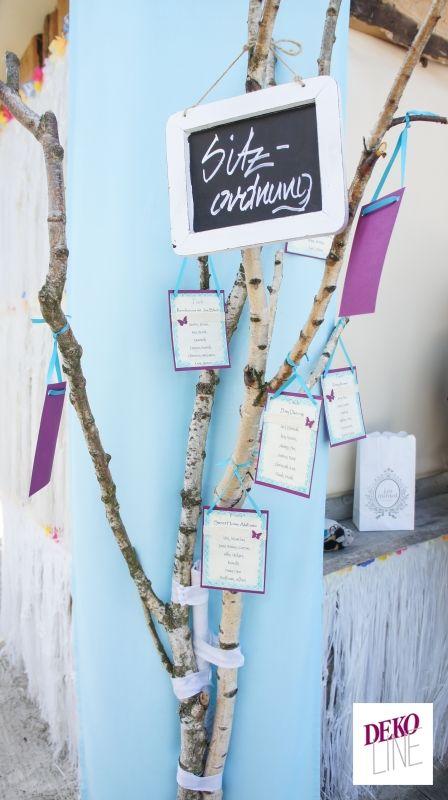Handmade-  Birkenstamm mit Sitzkärtchen und Tafel Bildergalerien | DEKO-LINE - Hochzeiten