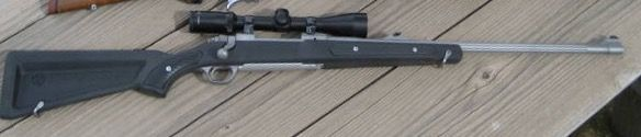 Ruger Hawkeye M77 chambered in .338 Winchester, .35 Whelen or .358 Winchester with the ugly boat paddle skeleton stock, stainless barrel and iron sights! Hard to find no longer in production :( can be found used for $500-700 ***This rifle is very high on my realistic wish list***