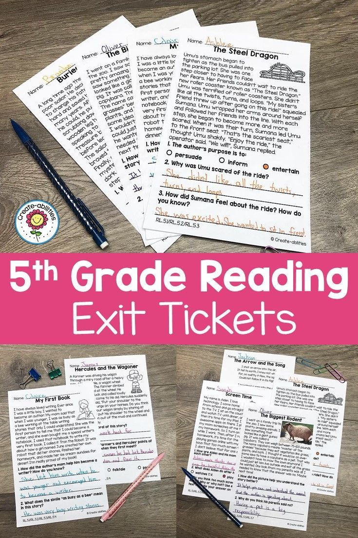 Reading Exit Tickets 5th Grade Distance Learning Exit Tickets 5th Grades Reading Passages [ 1102 x 735 Pixel ]
