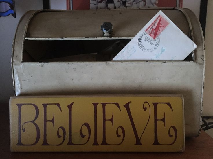This old bread box houses my grandparents' correspondence letters during WWII