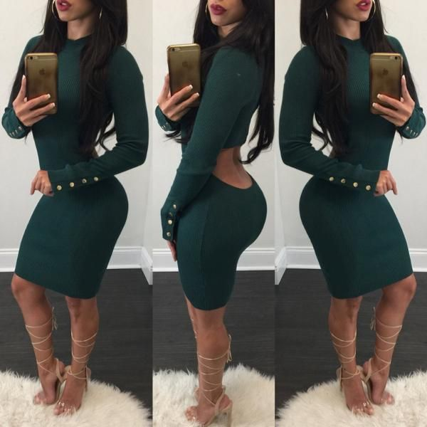 Women Cut Out Sexy Bodycon Dress