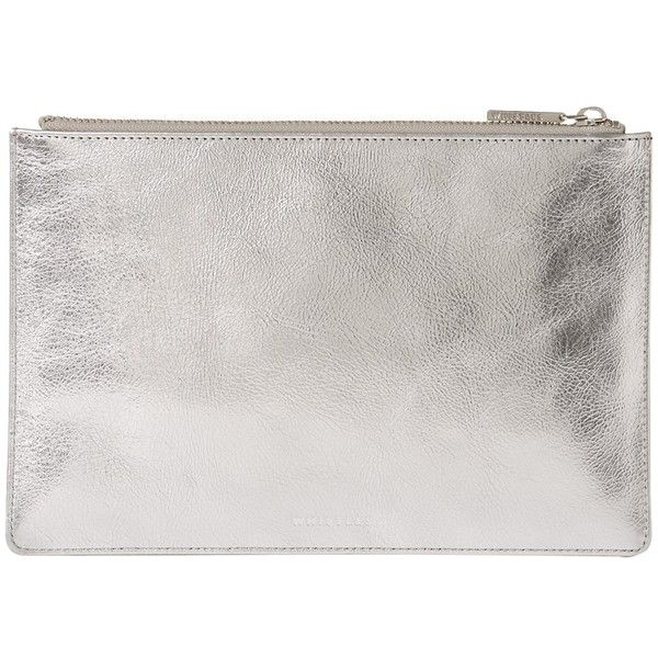 Whistles Metallic Leather Small Clutch Bag ($64) ❤ liked on Polyvore featuring bags, handbags, clutches, silver, man bag, handbags clutches, leather purses, leather man bags and metallic clutches