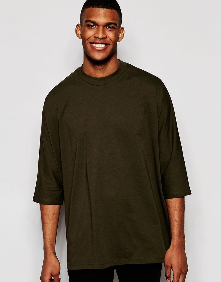 Image 1 ofASOS Oversized 3/4 Sleeve T-Shirt With Batwing In Green
