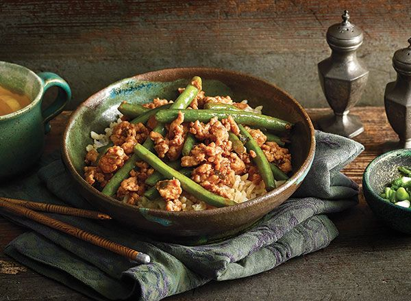 Asian Turkey and Green Bean Sauté from Publix Aprons. Ate this at a publix demo. IT is fabulous! Tastes very similar to PF Changs lettuce wraps. Loved the green beans tho!