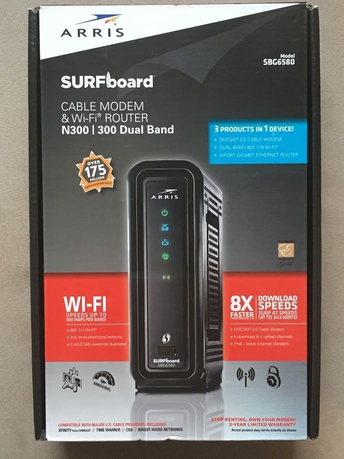 ARRIS SURFBOARD SBG6580 CABLE MODEM DUAL BAND N300 300 Wi-Fi ROUTER 612572180402 #ARRIS
