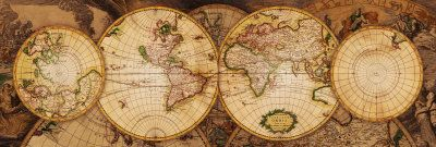 Carte ancienne du Monde. L91 X H30 cm. prix : environ 12 euros. Art.fr