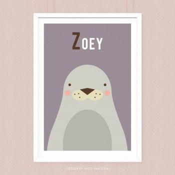 Poster Zeehond met eigen naam.