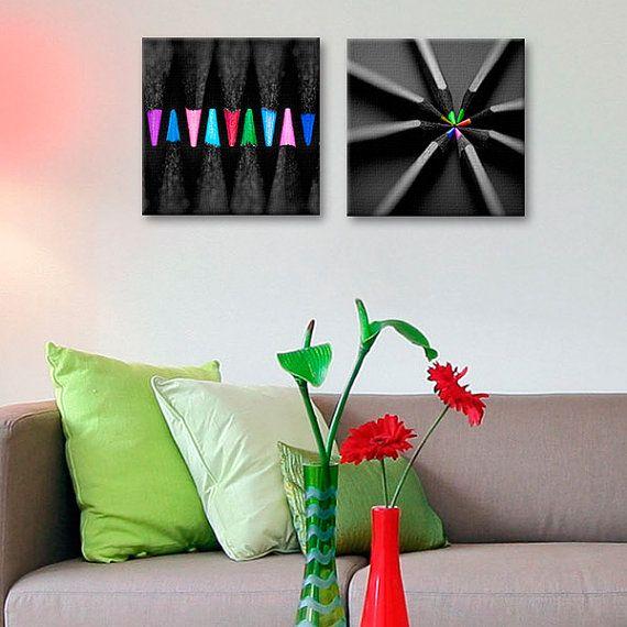 cuadros decorativos piezas lapices de colores