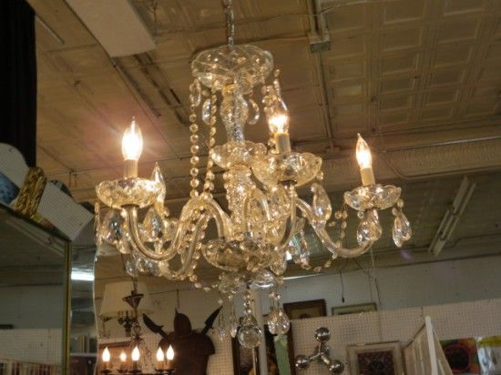Vintage antique glass & crystal 5 arm chandelier - $195 - 131 Best Chandeliers Images On Pinterest Mid Century