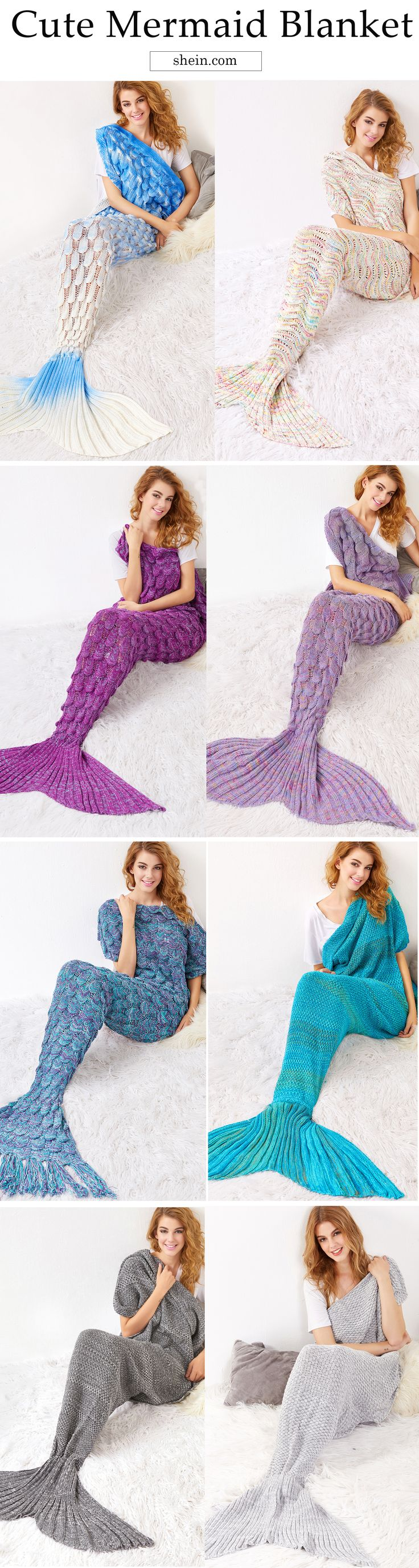 Cozy knit blanket for winter. Warm mermaid tail blanket for bedroom.
