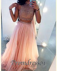 #promdress01 prom dresses - 2015 elegant pink chiffon two pieces long senior prom dress,vintage graduation dress,cute dresses for teesn #coniefox #2016prom