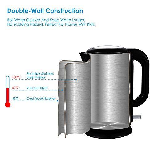 Aicok Wasserkocher Edelstahl, 1,7 Liter, 2200W, Fr