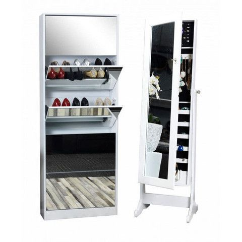 Mirrored Jewellery Cabinet + Shoe Cabinet Set