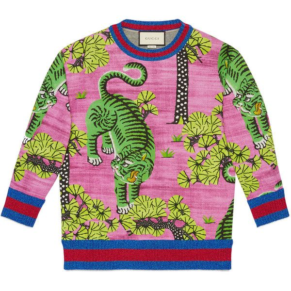 Gucci Bengal Print Sweatshirt ($1,350) ❤ liked on Polyvore featuring tops, hoodies, sweatshirts, fuchsia, graphic sweatshirts, fuschia top, cotton jersey, pink top and jersey sweatshirt