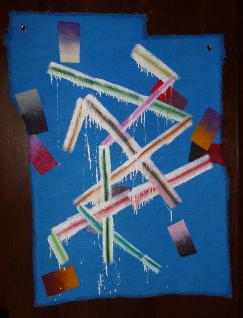 Peter Gouge, G.D.T.D.,(blue), 2014, oil, enamel and spray paint on carpet, 1550 x 1150 mm