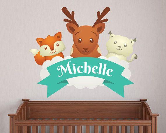 Name Decal Animal Deer Custom Nursery Decal  by LullaberryDecals
