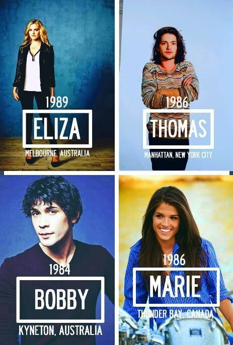 Eliza Taylor (Clarke Griffin), Tom McDonell (Finn Collins), Bob Morley (Bellamy Blake) and Marie Avgeropoulos (Octavia Blake) II The 100 cast