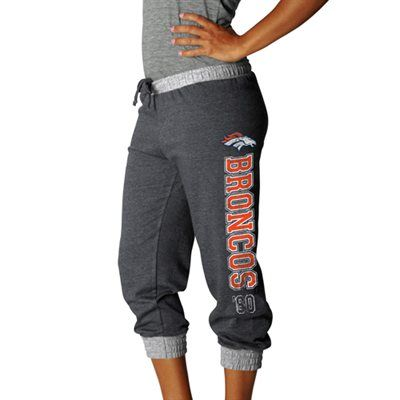 Denver Broncos Women's Sport Princess II Heather Fleece Cropped Pants - Charcoal