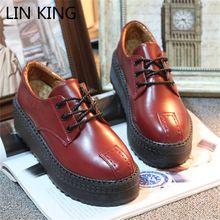 LIN REI Rendas Até Martin Sapatos Das Mulheres do Estilo Britânico Oxfords sapatos de Inverno Sola Grossa Plataforma Trepadeiras Dedo Do Pé Redondo Sapatos Único sapatos(China (Mainland))