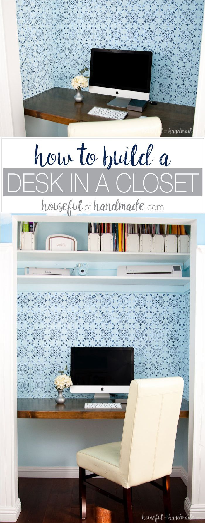 Create a beautiful budget friendly desk option. Learn how to build a desk in a closet for the perfect office space. http://Housefulofhandmade.com | Closet Office | Desk Build Plans | Free Build Plans | Office Makeover | $100 Room Challenge