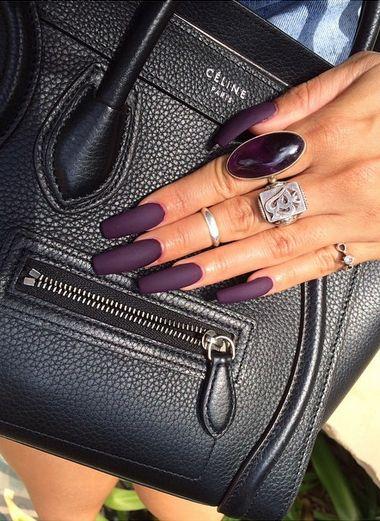 Matte dark purple nails <3