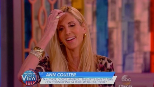 The smugly white performance artist Ann Coulter appeared on today's episode of The View in yet another stop on her unending publicity tour for her recent book. The ensuing segment has it all! By all, I mean: