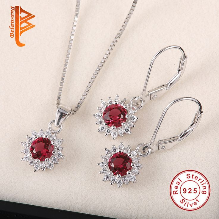 NEW Arrivals 925 Sterling Silver Red Crystal Fashion Jewelry Set Russian Dangle Earrings&Necklace For Women Wedding Presents