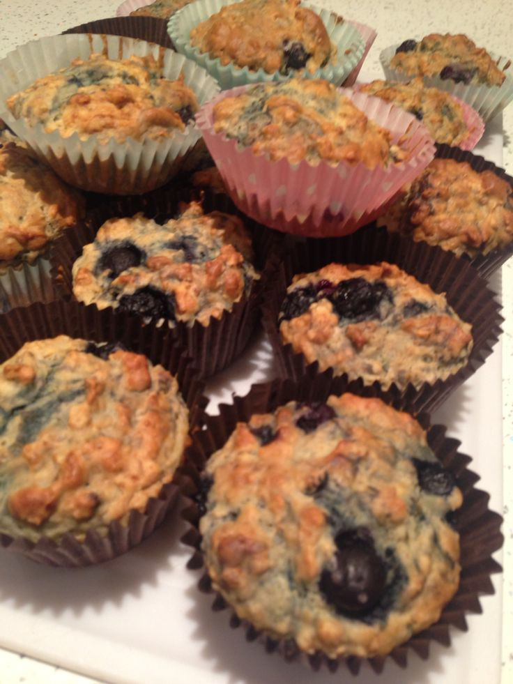 Blueberry, oat and yogurt muffins!