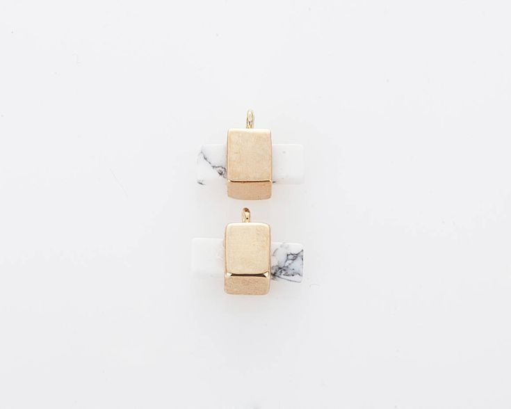 [G0246-PGHW] ================================================== Howlite Gemstone Pendant, White Marble Rectangle Shaped Pendant Polished Gold Plated - 2 Pieces ==============&#x...