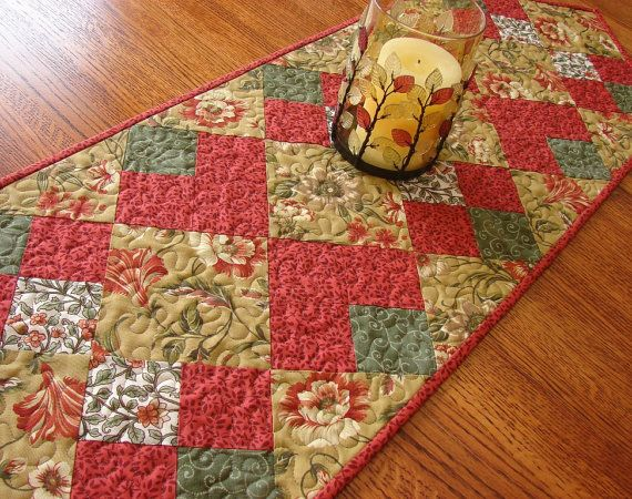 fall quilted table runners   Autumn Fall or Christmas Quilted Table Runner by susiquilts