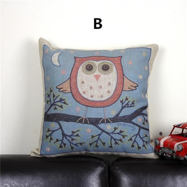 Cute Throw Pillows Pinterest : Cute owl pillow for couch decorative home animal linen throw pillow Owl throw pillow for home ...