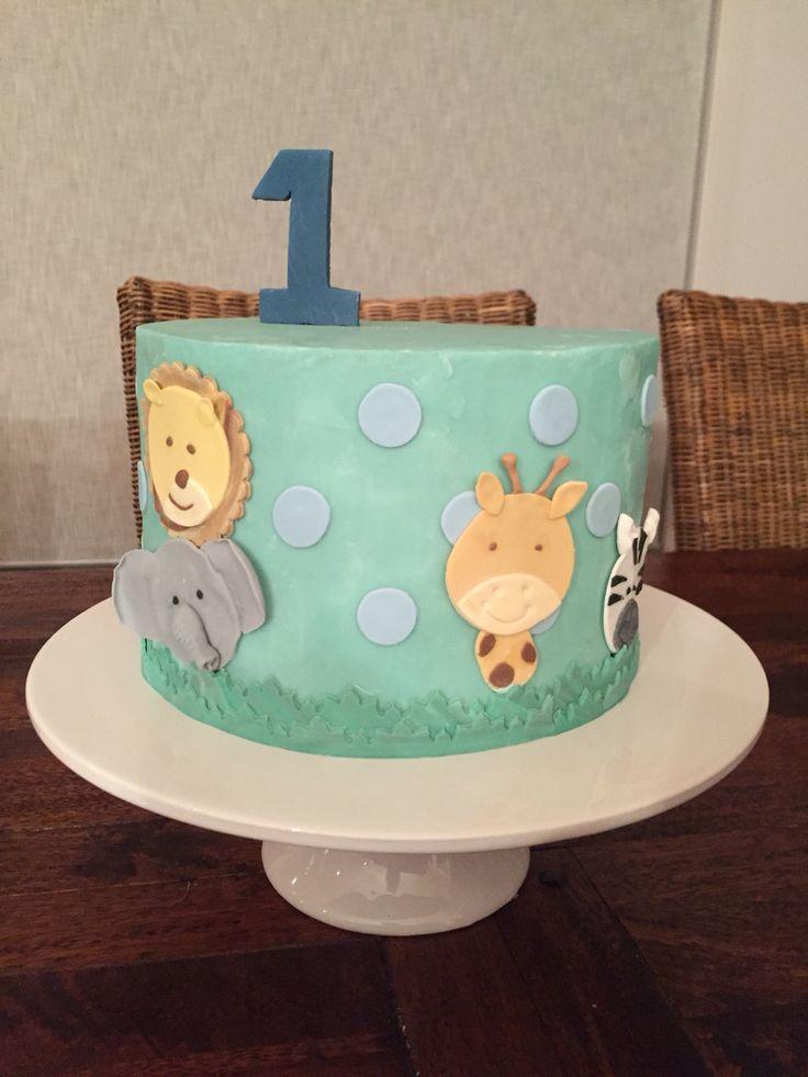 First birthday cake, zoo animal, jungle themed cake elephant, girrafe, zebra, lion animal cake toppers