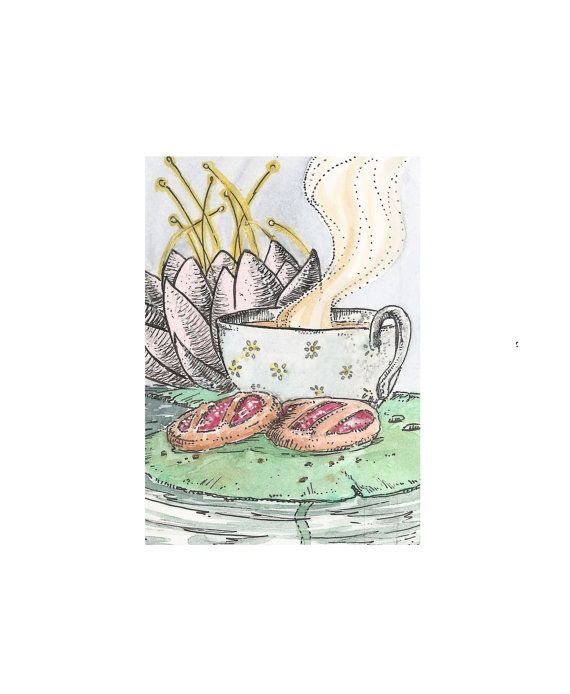 Aceo card Tea time original watercolour art by ThreeEyesStudio, €4.00