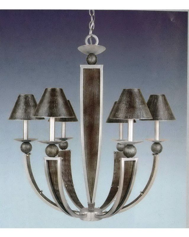 vaxcel lighting ch20415 asbn six light chandelier in antique silver and brushed nickel finish