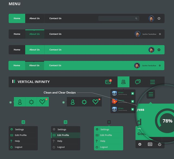 #Flat #Design | Vertical Infinity – A Mega Flat Style UI Kit PSD  This huge Free UI kit contains different styles of Menus, Dropdown lists, Buttons, Form Elements, Check boxes and radio buttons, Toggle, Navigation and Paginations, Tags, Alert Boxes, progress Bars, Login forms, Contact Forms , weather Widgets, Calendar Widgets , Social Buttons , Media players, Attachment, Profile Elements.