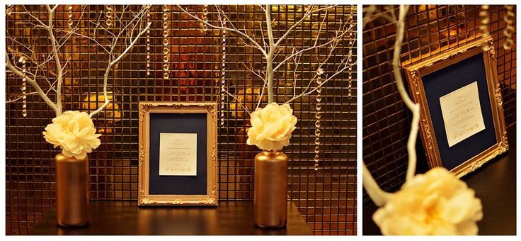 Gold & Navy wedding decore
