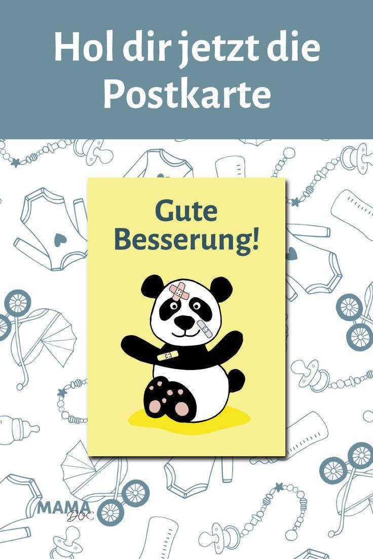"""Karte Panda """"Gute Besserung"""" Wennu00a0ein Kindu00a0krank ist oder sich nicht…"""