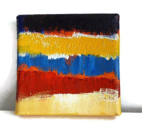Original Painting, Hand Painted on a Sqaure Canvas with Acrylic and Natural Sand, Blue Red Yellow, OOAK Fine Art Abstract Image, Larryware