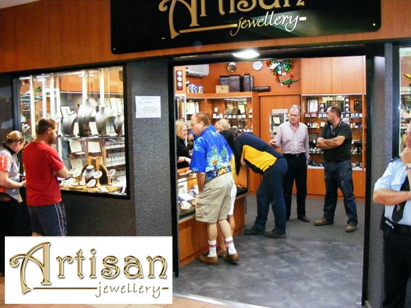 """That """"Artisan Jewellery"""" (Port Hedland) logo and shop graphic in a beautiful, glossy gold really came to life once it was hung above the doorway.  Great to see!"""