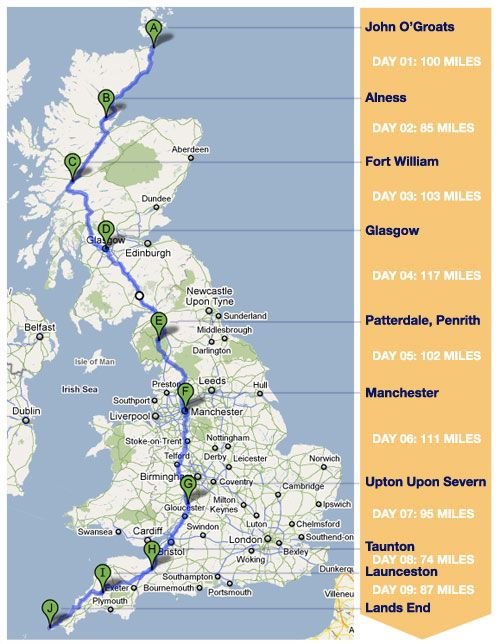 John O'Groats to Lands End Route map